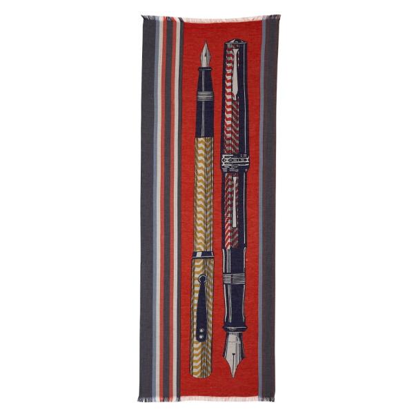Inouitoosh-ss20-echarpe-coton-soie-stylo-plume-epistolaire-rouge