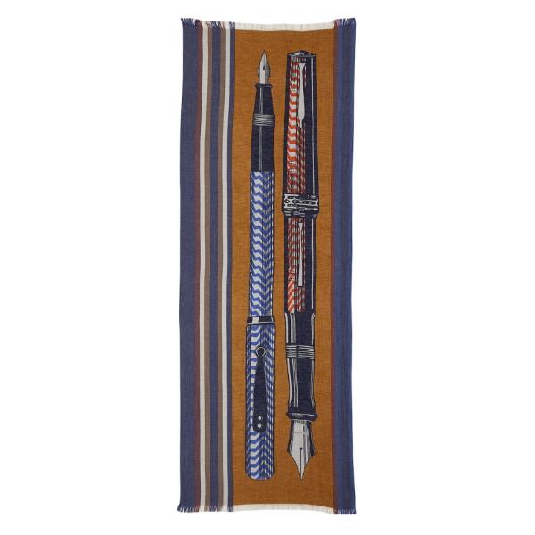 Inouitoosh-ss20-echarpe-coton-soie-stylo-plume-epistolaire-safran
